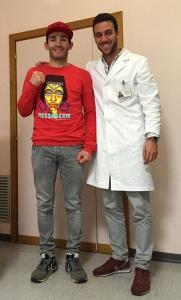 Matteo Signani, in visita nell'ambulatorio del suo nutrizionista Andrea Del Seppia