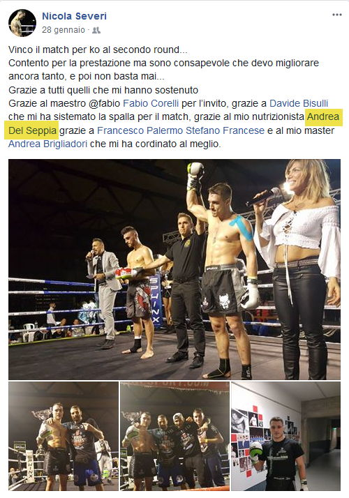 Nicola Severi wins the Muay Thai King of the Ring 2081, Rimini. Nicola Severi thanks his coaches and trainers, including Nutritionist Dr. Andrea Del Seppia