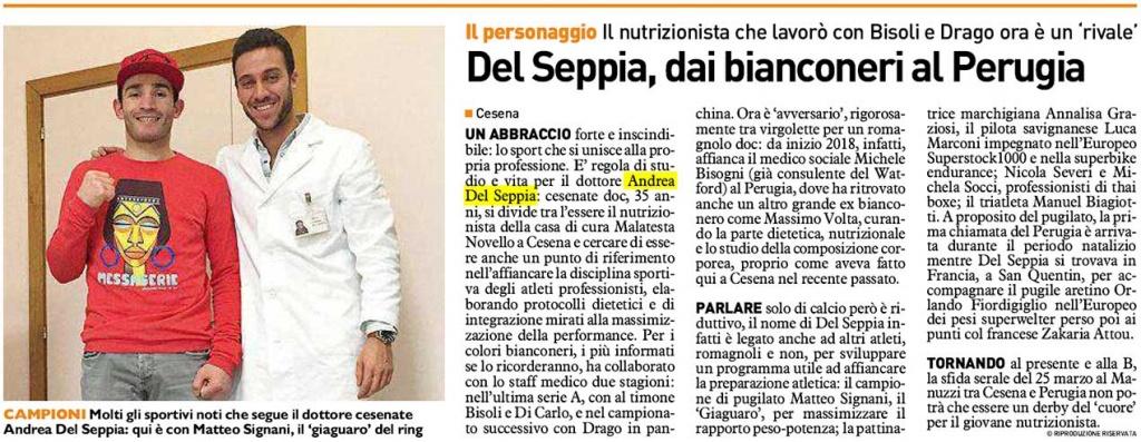 Il Resto del Carlino - Andrea Del Seppia becomes the new, official Perugia Calcio nutritionist