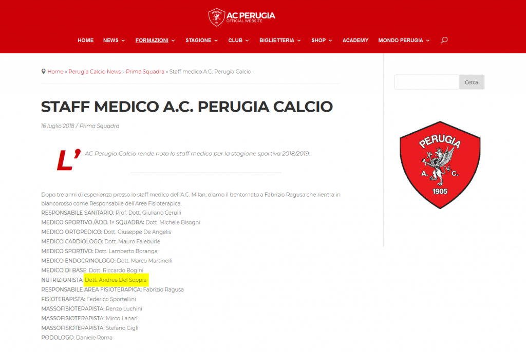 Doct. Andrea Del Seppia, official nutritionist in Perugia Calcio's medical staff for season 2018/2019