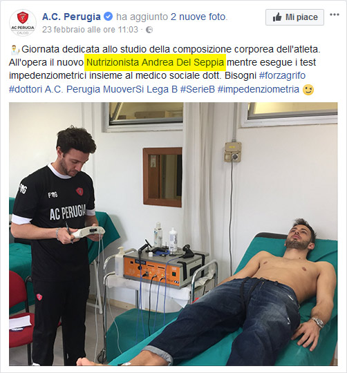 Nutritionist Doct. Andrea Del Seppia carries out a bioimpedance analysis on Nicola Leali, goalkeeper of A.C. Perugia Calcio