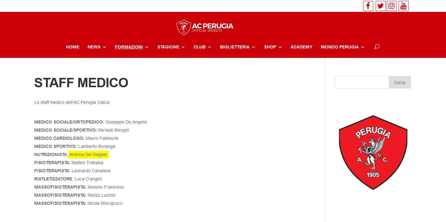 Doct. Andrea Del Seppia, official nutritionist in Perugia Calcio's medical staff