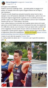 Manuel Biagiotti thanks his technical staff, including Dr. Andrea Del Seppia, after achieving the third place at the Sprint Triathlon of the Rimini Challenge 2017